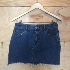 Dark wash cut off skirt